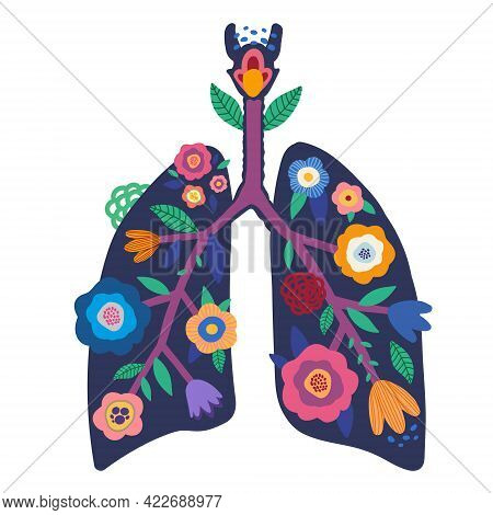Blooming Lungs. Illustration Of Human Lungs With Bright Flowers And Vegetation. Respiratory System.