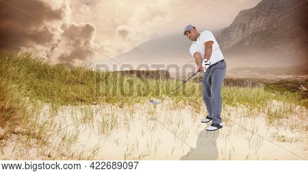 Composition of caucasian man playing golf striking with golf club. championships, sports and competition concept digitally generated image.