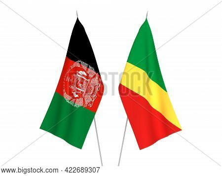 National Fabric Flags Of Republic Of The Congo And Islamic Republic Of Afghanistan Isolated On White