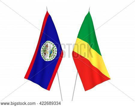 National Fabric Flags Of Republic Of The Congo And Belize Isolated On White Background. 3d Rendering