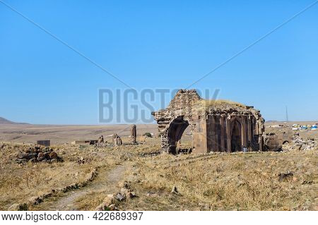 Panoramic View Onto Ruins Of Church Of Holy Apostles In Medieval City Ani, Near Kars, Turkey. Built
