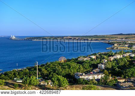 Panorama Of Kerch, Crimea. There Are Park Of Attractions & Residential Houses. Crimean Bridge & Rail