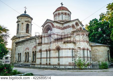 Facade Of Ancient Church Of Saint John The Baptist In Kerch, Crimea. It Was Founded In Viii Century.