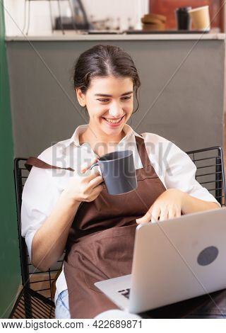 Beautiful Caucasian Barista Woman Happy To Show Hot Coffee Cup To Friends And Family Via Online Vide