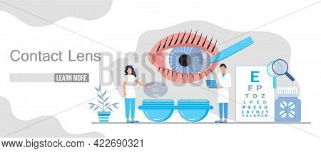 Contact Lens Concept Vector For Web, App, Landing Page.
