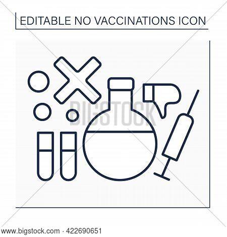 Research Line Icon. Explore Vaccine Against Covid19. Examination On Effectiveness Of Vaccine.no Vacc