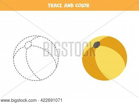 Trace And Color Toy Ball. Educational Game For Kids. Writing And Coloring Practice.