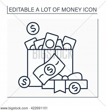 Money Line Icon. Cash For Present. Money In Present Box. Jackpot. Wealth Concept. Isolated Vector Il