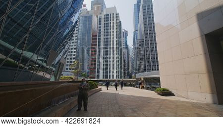 Central, Hong Kong 27 January 2021: Walk in business district in Hong Kong City