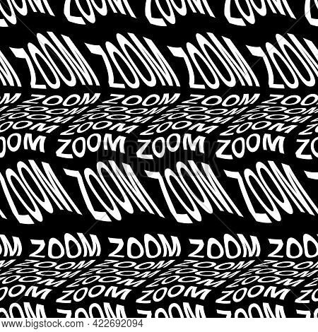 Zoom Word Warped, Distorted, Repeated, And Arranged Into Seamless Pattern Background