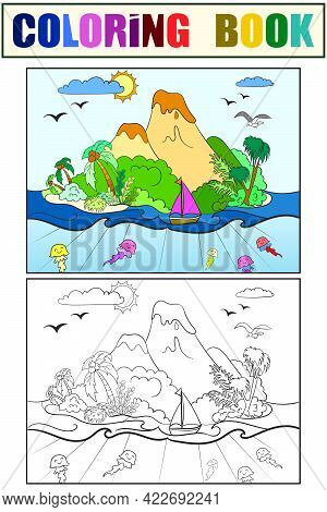 Set Of Coloring Book And Color Picture. Green Island With Volcanoes.