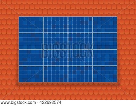 Solar Plate Collector On Shingle Roof Background. Ecological Electricity Production. Blue Thermal Ph