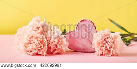 Bouquet Of Pink Carnations And Decorative Heart. Design Concept Of Holiday Greeting With Carnation B