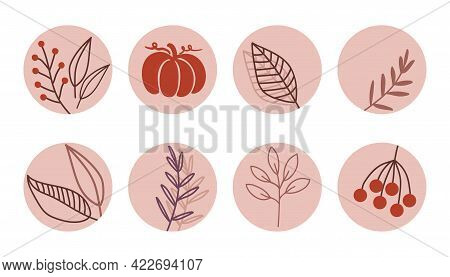 Set Of Highlight Covers For Social Media Stories. Round Icons With Floral Elements In A Modern Nude
