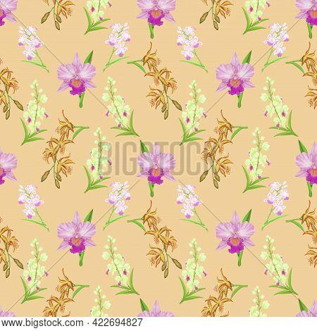 Pink Cattleya Orchid Flower Blossom Seamless Pattern On Beige Color Background, Illustration Of Peta