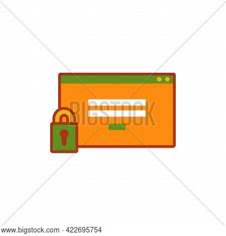 Web Login Program Window With Padlock Locked. Website Login Security Icon Symbol Illustration