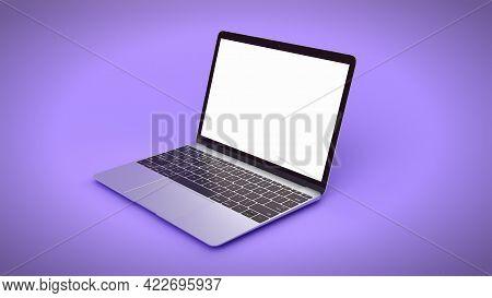 Minimalistic Laptop With Blank Screen. Mockup On Purple, 3d Rendering