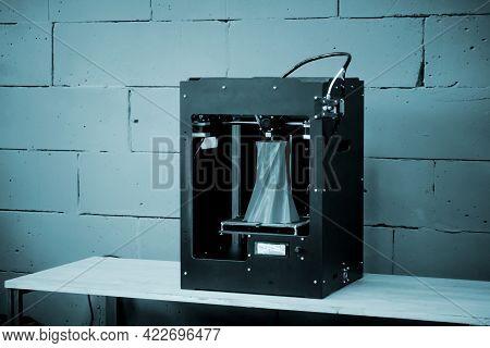 3d Printer Working Close Up. Automatic Three Dimensional 3d Printer
