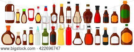 Illustration On Theme Big Kit Varied Glass Bottles Filled Liquid Chocolate Syrup. Bottles Consisting