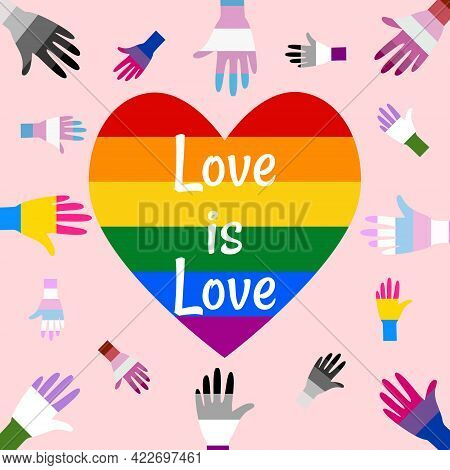 Banner For Pride Month. Hand In Gay, Transgender, Lesbian, Bisexual, Pansexual, Asexual, Intersex, G
