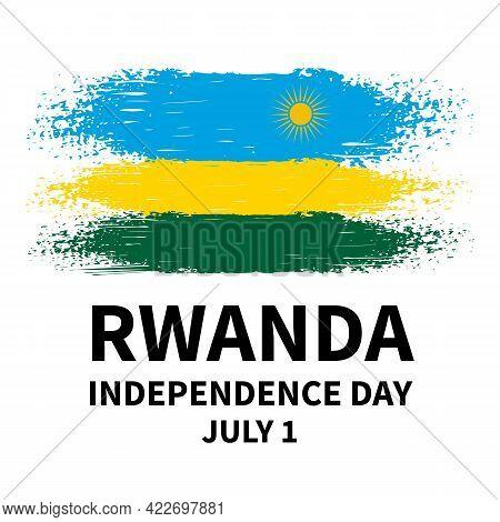 Rwanda Independence Day Calligraphy Lettering With Brush Stroke Flag. National Holiday Celebrated On