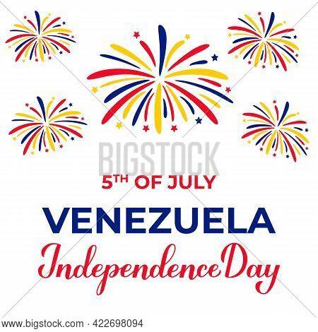 Venezuela Independence Day Lettering With Fireworks Isolated On White. National Holiday Celebrated O