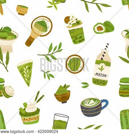 Seamless Pattern With Green Matcha Leaves, Food And Drinks On White Background. Endless Repeating Te