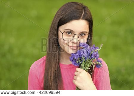 Natural Skincare And Spa Products. Beauty Look Of Little Child. Skincare Model With Flowers. Baby Sk