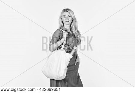 Bag With Groceries. Reusable Eco Bag For Shopping. Woman Holding Shopping Bag With Fruits And Bread.