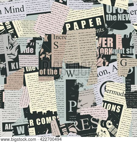 Abstract Seamless Pattern With A Collage From Newspaper And Magazine Clippings. Vector Background Wi