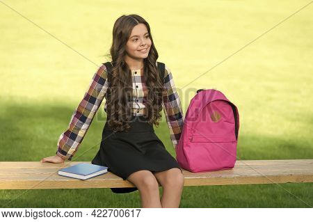 Learning Never Ends. Happy Child Relax On Bench After Classes. Homework Assignment. Afterschool Acti