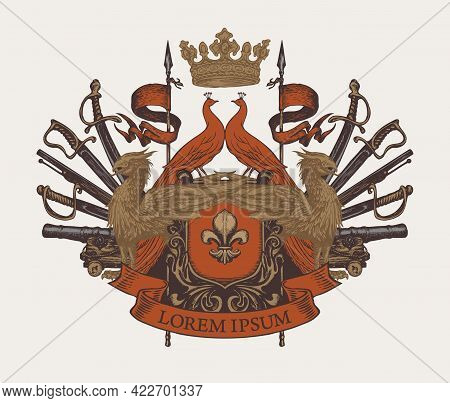 Medieval Coat Of Arms With Griffins, Peacocks, Knightly Shield, Spears, Flags, Sabers, Swords, Canno