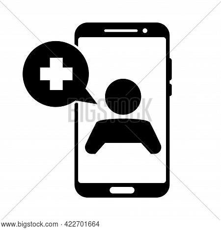 Smartphone Screen With Therapist On Chat. Online Consultation With Doctor. Ask A Doctor. Online Medi
