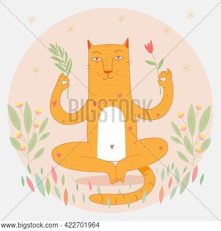 Relaxed Cat In Harmony Sitting In Yoga Lotus Position And Meditate. Cat In Zen Balance With Flowers.