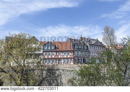 Frankfurt, Germany - April 24, 2021: Old Historic Market Square In Frankfurt Hoechst. With Half Timb