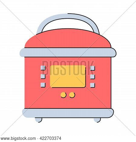 Multicooker. Slow Cooker. Kitchen Appliances. Flat Style. Isolated Vector Illustration On White Back