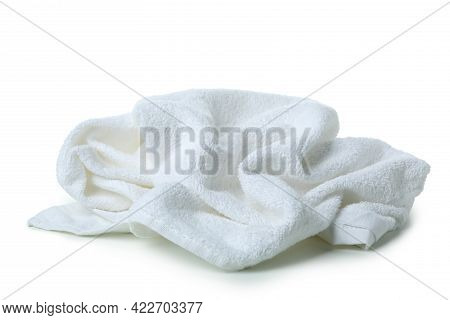 Clean Crumpled Towel Isolated On White Background