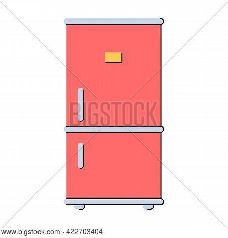 Fridge And Freezer. Refrigerator. Kitchen Appliances. Storing Food At A Certain Temperature. Flat St