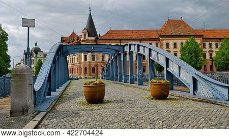 Ceske Budejovice, Czech Republic - May 15, 2021: Blue Metal Bridge Over The River Called Malse With