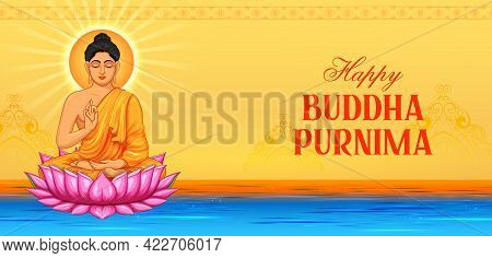 Lord Buddha In Meditation For Buddhist Festival With Text In Hindi Meaning Happy Buddha Purnima Vesa