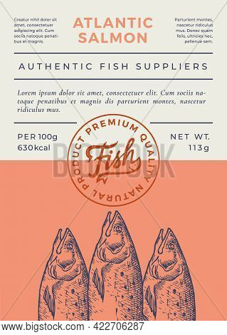 Ocean Fish Abstract Vector Packaging Design Or Label. Modern Typography Banner, Hand Drawn Atlantic