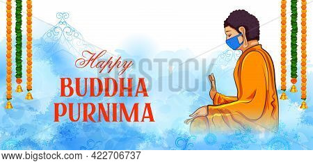 Lord Buddha In Meditation Wearing Mask Showing Prevention And Protection Against Corona Virus Pandem