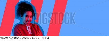 Contemporary Art Collage, Modern Design. Retro Style. Beautiful Girl On Blue Studio Background In Ma