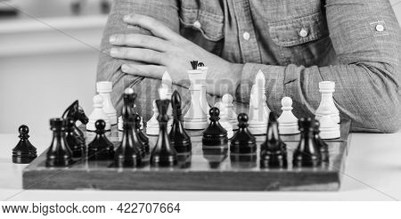 Development Logics. Learning Play Chess. Bad Move Nullifies Good Ones. Figures On Wooden Chess Board