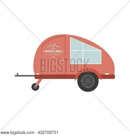Travel Trailer Flat Icon, Vector Illustration. Design Element For Camping Backgrounds