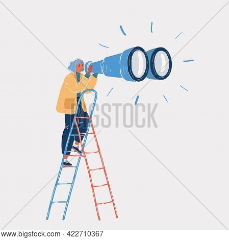 Vector Illustration Of Businesswoman Watchin Throug Binoculars Standing On Ladder. Looking For Oppor