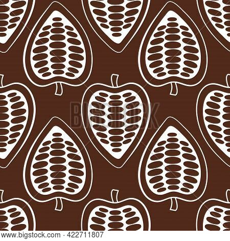 Botanical Seamless Pattern With Hand Drawn Fruits And Beans On A White Background. Vector Cocoa Bean