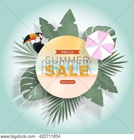 Hello Summer Sale Banner With Pink Parasol, Toucan And Tropical Leaves