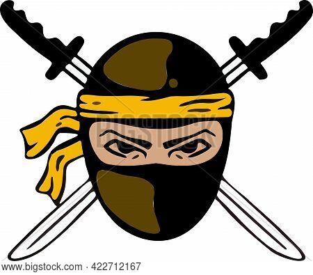 Badge, Logo Ninja, Sword Wars, Assassin, Symbol. Vector