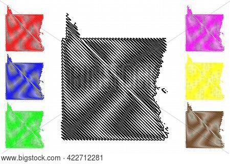 Emery County, State Of Utah (u.s. County, United States Of America, Usa, U.s., Us) Map Vector Illust